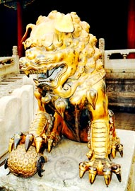 Beijing Forbidden City - Bronze Lion in front of the Gate of Heavenly Purity